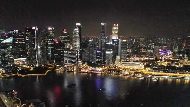 Vue sur la ville du haut du Marina Bay Sands Singapour