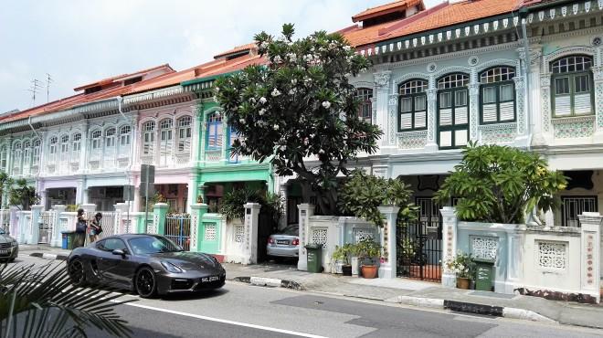 Koon Seng Road et ses maisons colorées à Singapour
