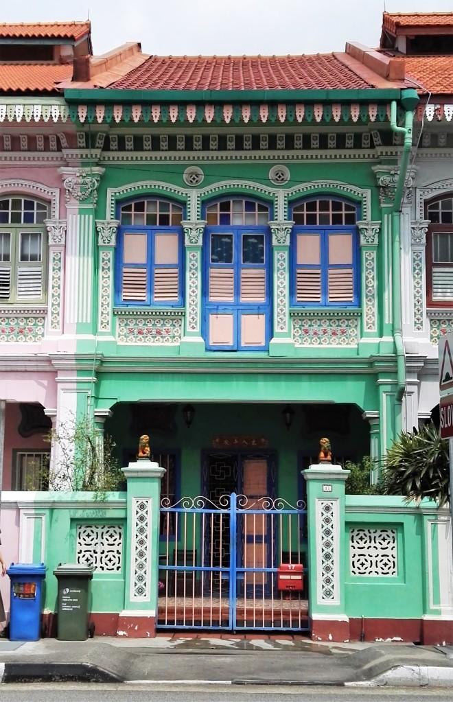 Façade d'une maison colorée de Koon Seng Road, Singapour