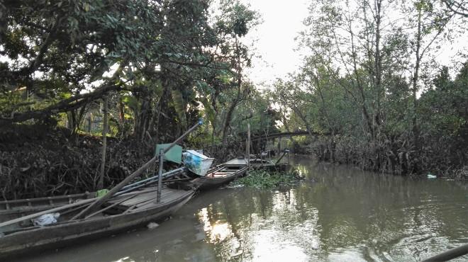 Sampans du Delta du Mekong, Vietnam